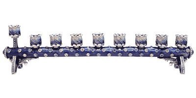8'''' Hand Painted Cylindrical Menorah Embellished with Crystals