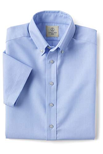 Lands' End School Uniform Boys Short Sleeve Oxford Dress Shirt Blue