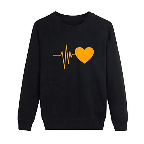 CactusAngui Sudadera Mujeres Heartbeat Estampe Suelta Manga Larga O-Cuello Casual Pullover Top Black+Yellow L