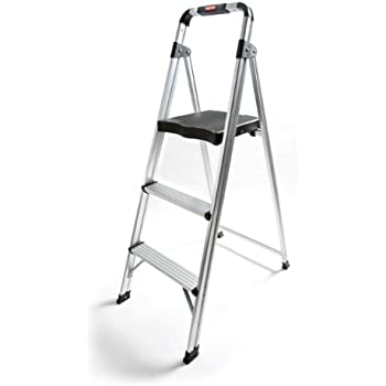 Rubbermaid Rm Aul3g 3 Step Ultra Light Aluminum Stool With