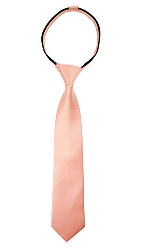 (Spring Notion Boys' Satin Zipper Neck Tie Meduim Peach)