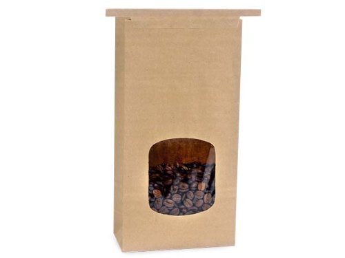 Kraft 1 Lb. Tin Tie Bakery Bag w/ Square Window - 50 Pack by Premium Tin Ties