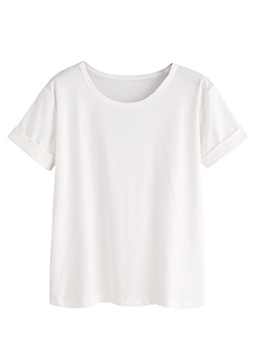 SheIn Women's Casual Round Neck Basic Summer Short Sleeve Tee Tshirt