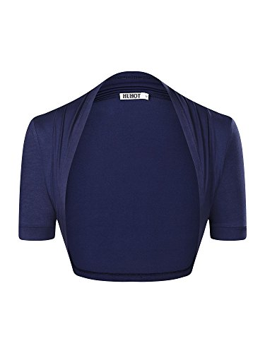 Navy Bolero - HUHOT Womens Versatile Open Front Lightweight Short Sleeve Bolero Shrug X-Large Navy