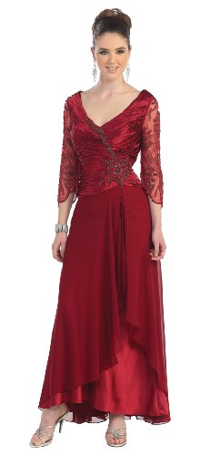 Mother of the Bride Formal Evening Dress #552 (Large, Burgundy)