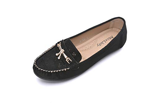 Comfortable Cushioned Insole Slip On Loafer Moccasins Flats Driving & Walking Shoes for Women, Doris Black Suede 9.0