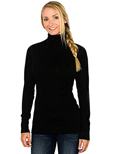 Woolx Womens Peyton Warm & Soft  Midweight Merino Wool Turtleneck Sweater , Black, Medium