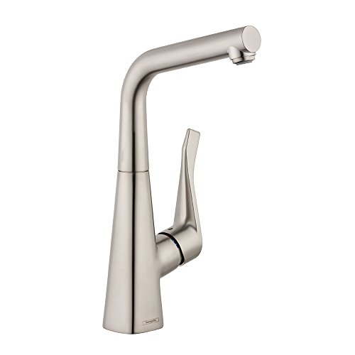 Hansgrohe 04509800 Metris Bar Faucet with Quick Clean Aerator, Steel Optik