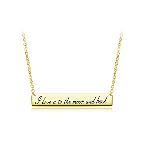 Sterling Silver Bar Neckalce with Engraved I Love You To The Moon and Back Pendant 18k Gold Plated Minimalist, Delicate JewelryAnniversary Gift For Girlfriend Wife Mom Daughter