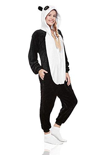 Adult Panda Kigurumi Onesie Pajamas Animal Cosplay Costume Hooded Warm Fleece Pjs (Medium, Black/White) by Nothing But Love (Image #3)