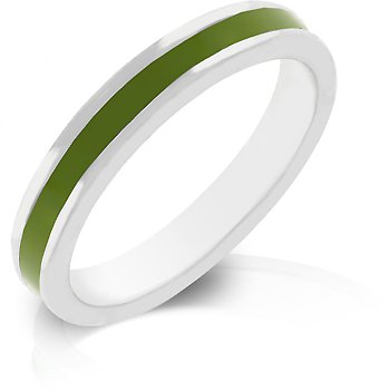 J Goodin Olive Green Enamel Eternity ring Size 9