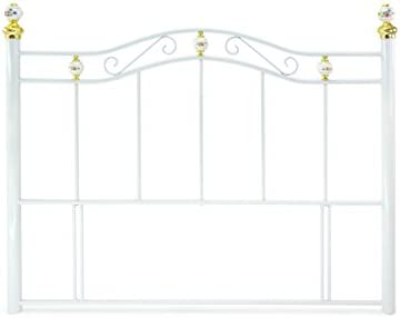 DOUBLE PORCELAIN WHITE METAL HEADBOARD FEATURES