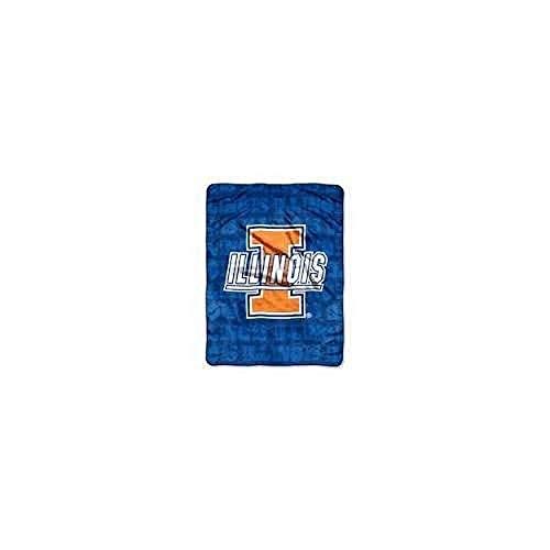 (NCAA Officially Licensed Micro Raschel Plush Grunge Series Fleece Throw Blanket (Illinois Fighting Illini))