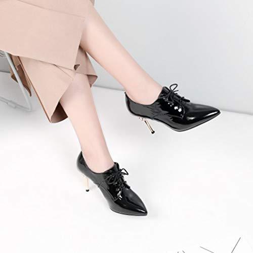 Estrecha De Perlas De De Black De Tacón Mujer Aguja Areer Zapatos RLYAY Marrón Negro Punta De De Trabajo Altos Cordones Tacones De q1B1EwYI