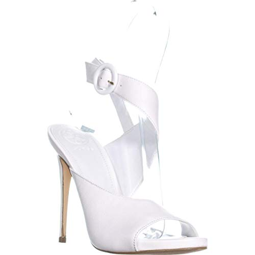 Guess Tyson2 Ankle Strap Sandals, White Leather, 8.5 US (Ankle Strap Sandals Guess)