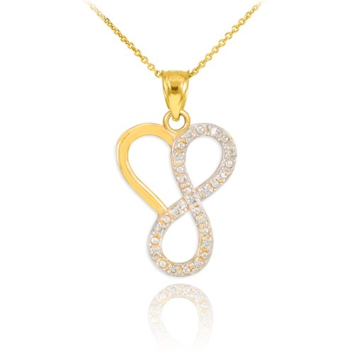 14k Yellow Gold Diamond Necklace (Dainty 14k Yellow Gold Diamond Infinity Heart Pendant Necklace, 18