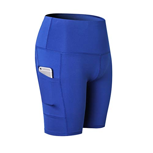 (ZEFOTIMWomen's High Waist Yoga Short Abdomen Control Training Running Yoga Pants(Blue,Large))