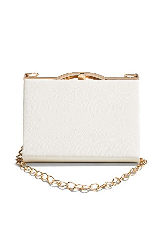 Women Faux Snakeskin Clutch Purse Hard Case Handbag With Two Detachable Chains (white, gold)