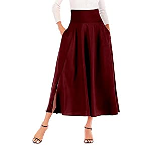 Calvin-Sally-Falda-mediana-plisada-de-cintura-alta-para-mujer-con-bolsillos