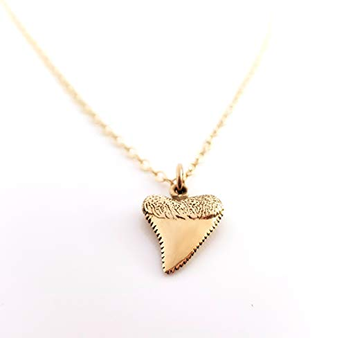 - Shark Tooth Gold Charm Necklace - Dainty 14k Gold Filled Jewelry