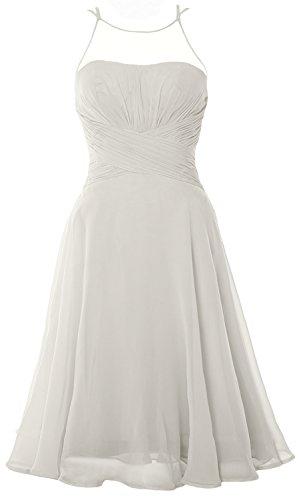 Cocktail Wedding Gown Elfenbein Party Short Chiffon Dress Formal Illusion MACloth Elegant nYO4FF