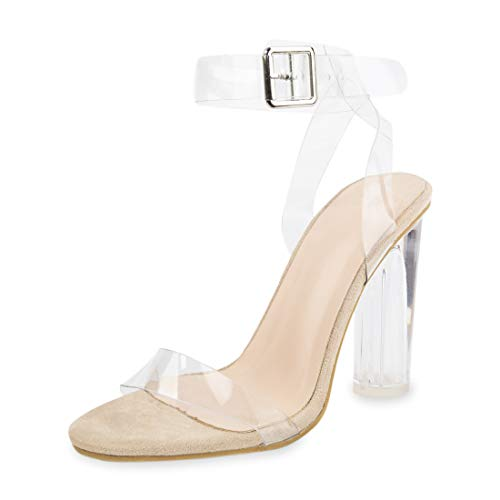 Women's High Heel Sandals Ankle Strap Block Clear Chunky Heels Holidays Party Shoes - 8.5 Nude -