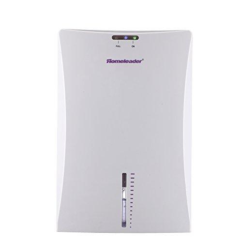 Homeleader 75W Small Dehumidifer, 50 oz Electric Compact Dehumidifer for Home, Bathroom, Car, Basement with LED Light, White, J02-020