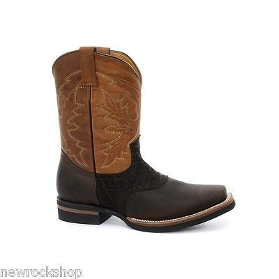 Grinders Frontier New Unisex Brown Biker Cowboy Western Leather Boots pYvqQh