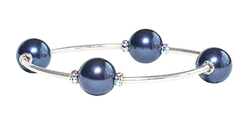 Blessing Bracelet The 12MM Midnight Swarovski Simulated Pearls with Swarovski Crystal Rondelle -