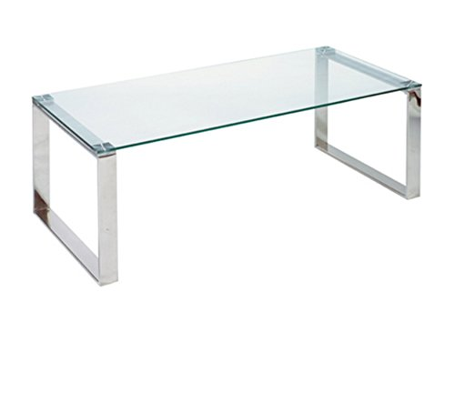 Cortesi Home Remi Contemporary Glass Coffee Table with Chrom