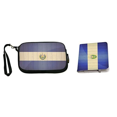 Rikki Knight El Salvador Flag on Distressed Wood Design Neoprene Clutch Wristlet with Matching Passport Holder