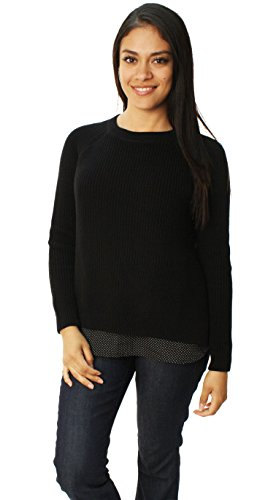 Lauren Ralph Lauren Womens Polka Dot 2Fer Pullover Sweater Black - Womens Lauren Cheap Ralph