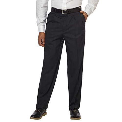Kirkland Signature Men's  Wool Flat Front Dress Pants (36X32, Black) -