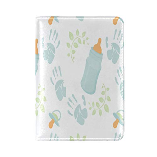 Passport Cover Case Handprint Stamping Interesting Design Leather&microfiber Multi Purpose Print Passport Holder Travel Wallet For Women And Men 5.51x3.94 In ()