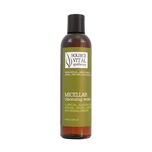 Micellar Cleansing Water by Source Vitál Apothecary | All-Natural, Gentle Makeup Remover & Face Cleanser | 8.39 Fl. Oz.