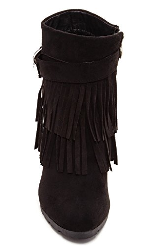 Bucco Lucienne Womens Fashion Fringed Wedge Booties Black soTIOvsw