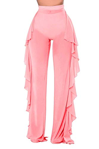 (Doqcey Women's Perspective Sheer Mesh Ruffle Pants Swimsuit Bikini Bottom Cover up (Tag M, Pink))