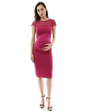 PattyBoutik Mama Crewneck Crochet Lace Inset Ruched Sheath Dress (Magenta S)
