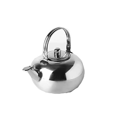 QINRUIKUANGSHAN Kettle, household kettle, induction cooker gas stove gas universal stainless steel exquisite tea kettle, teapot, silver whistling sound kettle, (Capacity : 14cm, Color : Silver)