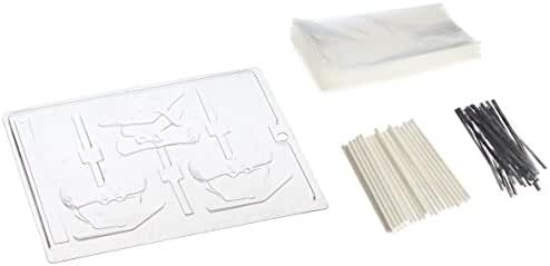 Cybrtrayd 45StK25S-M069 Cap and Diploma Lolly Chocolate Candy Mold with Lollipop Supply Kit, 25 Lollipop Sticks, 25 Cello Bags and 25 Silver Metallic Twist Ties