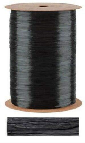 Black Pearlized Raffia Ribbon Gift Wrap Wedding 1/2'' Wide 500 Yards Bow by retail-warehouse
