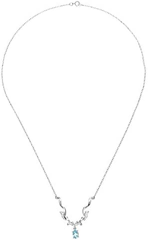 Naava Women's  Diamond and Blue Topaz Necklace, Prong Set, 9 ct White Gold Trace Chain, 46 cm Length, 0.04 ct Diamond Weight, Model DP1095/BT/W