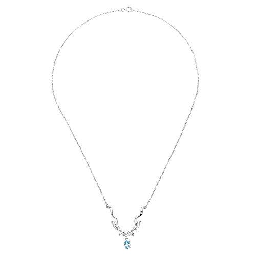 Revoni Bague en or blanc 9carats-Collier Femme-topaze bleu et diamant