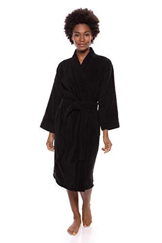 Texere Women's Knee Length Terry Robe (Megève, Black, L/XL) Romantic Gift