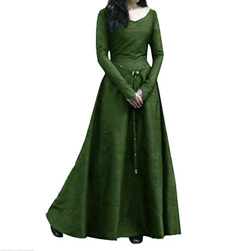 Fiaya Women's Plus Size Medieval Vintage Renaissance Long Sleeve Bandage Floor Length Party Dress Gown (XXXXXL, Green) ()