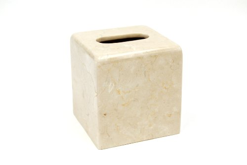 Creative Home Natural Champagne Marble Stone Tissue Box Cover, Holder, 5-1/8