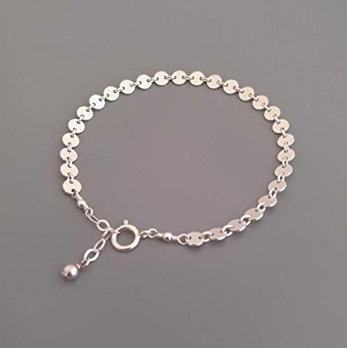 - Handmade Adjustable Sterling Silver Disc Bracelet