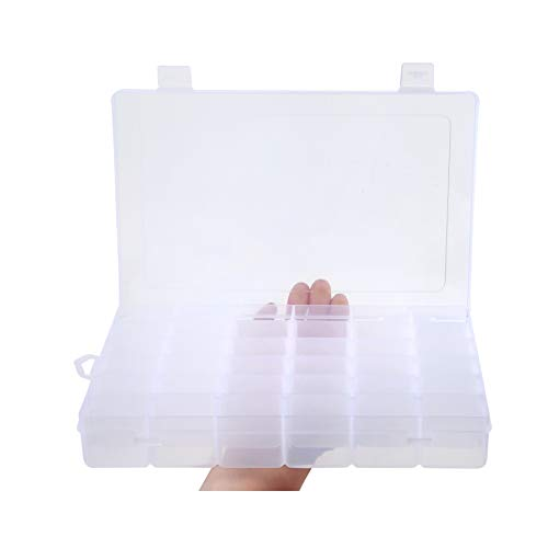 "Snowkingdom Transparent Plastic Grid Box Storage Organizer for Display Collection with Adjustable Dividers - 36 Clear Grids - 10.8""x7.0""x1.8"" - Free Letter Sticker"