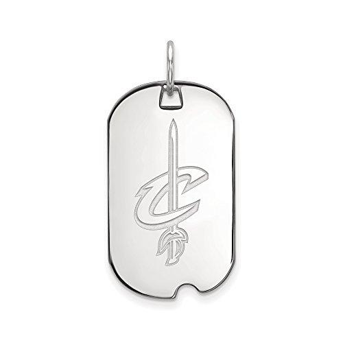 LogoArt NBA Cleveland Cavs Rhodium Plated Sterling Silver Small Dog Tag Pendant by LogoArt