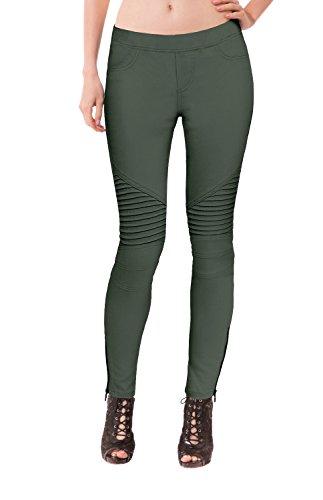 HyBrid & Company Womens Super Comfy Stretch Moto Pants P44190SK Olive Small